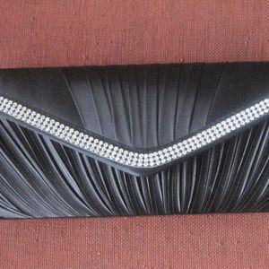 Handbags - Evening pocketbook bag BLACK SATIN with Rhinestone